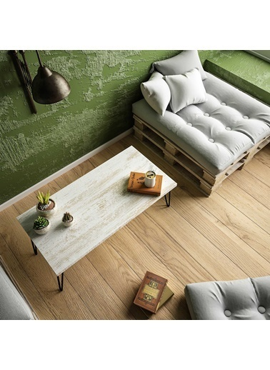 Woodesk Woodesk Masif AğaÇ Renk 100x50 cm Orta Sehpa Beyaz